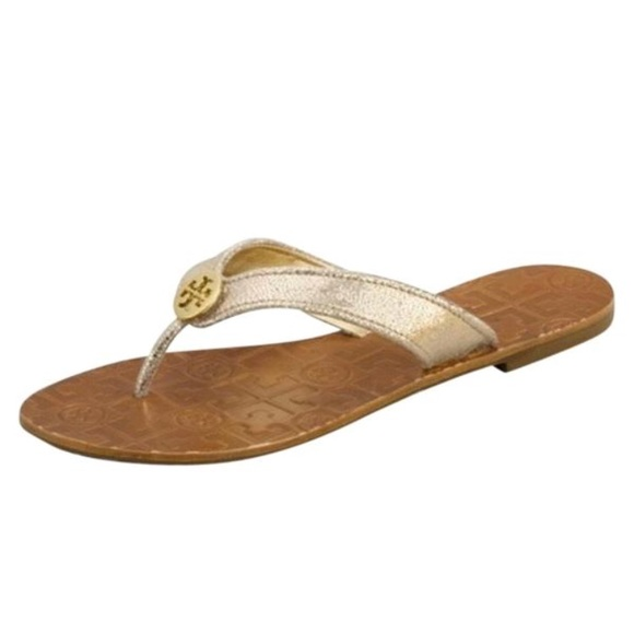 59f0f1bfd44326 NWT Tory Burch Thora Metallic Gold Thong Sandals